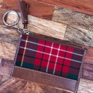 COACH Change Purse Plaid Wool with Leather Accents